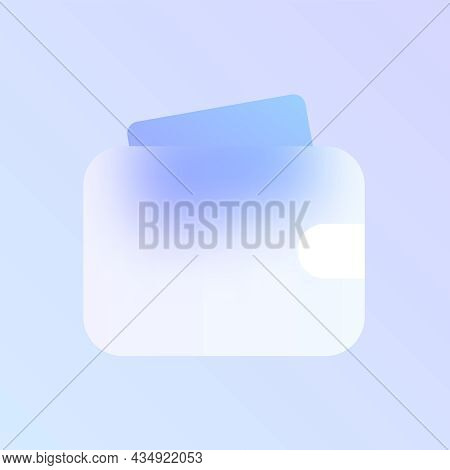 Wallet Glass Morphism Trendy Style Icon. Wallet Transparent Glass Color Vector Icon With Blur And Pu