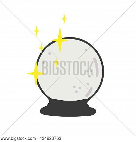 Crystal Ball. Isolated On White. Eps 8 Vector, Grouped For Easy Editing. No Open Shapes Or Paths.