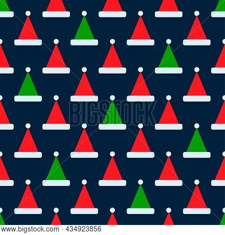 Santa Claus Hat Icon Seamless Pattern. Vector Design In Retro Style. Festive Christmas Packaging. Ve