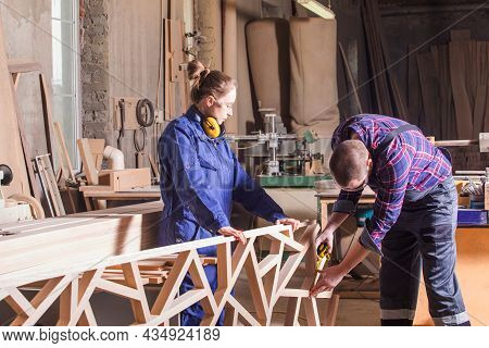 Creative Craftspersons Producing Handmade Wooden Furniture Decor
