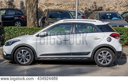 Zadar, Croatia - July 29, 2021: Hyundai I20 Active Car On Street Parking In Zadar, Croatia.