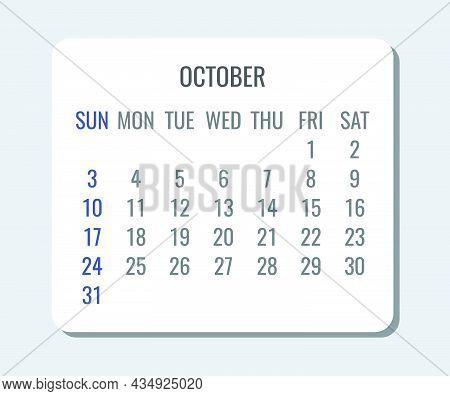 October Year 2021 Vector Monthly Plain Minimalist Simple Light Calendar. Week Starting From Sunday.