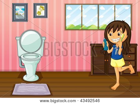 Illustration of a girl holding a toothbrush and a toothpaste inside the bathroom