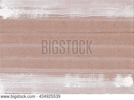 Scandinavian Striped Background With Lines Of White Paint On Light Brown Craft Paper. Hand Drawn Tex