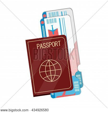 Passport And Boarding Pass Clipart. Passport And Boarding Pass Colorful Flat Vector Icon.