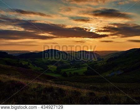 Sunset Over The Irish Sea On The Black Graded Syfydrin Mountain Biking Trail From The Nant Yr Arian