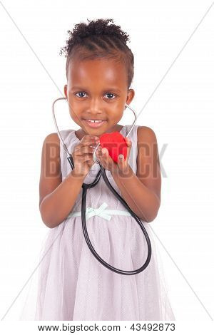 Adorable African Little Girl With Stethoscope