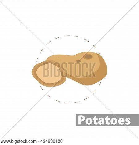Potato Clipart. Potato Colorful Flat Vector Icon.