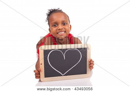 Adorable African Little Girl With Slate