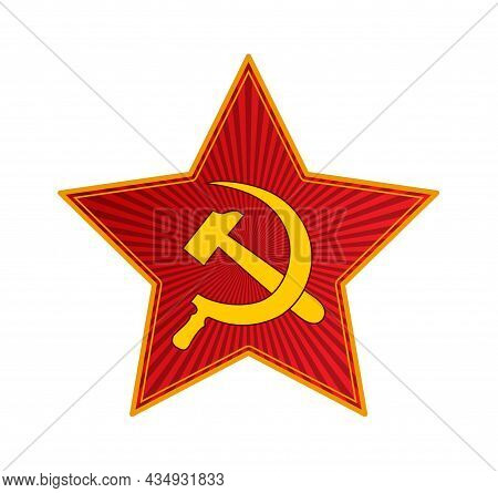 Red Ruby Five-pointed Star With A Hammer And Sickle. Flat Style