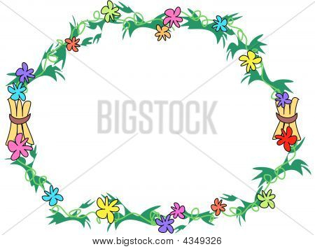 Here's a colorful circular frame of flowers leaves and stick bundles tropical style. poster