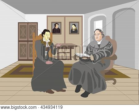 Martin Luther The German Reformer And His Wife Katharina Von Bora Sitting Inside The House Talking.\