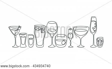 One Line Drawing Martini Rum Wine Liquor Champagne Tequila Beer Whiskey Vermouth Vodka Glass On Whit