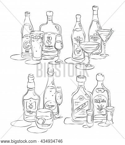 Bottle And Glass Beer, Liquor, Vermouth, Martini, Whiskey, Champagne, Rum, Tequila  Together In Hand