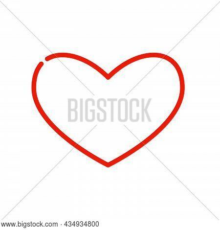 Linear Red Shape Heart With Line Break On White Background. Modern Illustration For Celebration, Rom