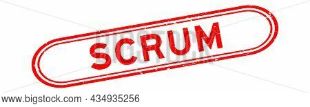 Grunge Red Scrum Word Rubber Seal Stamp On White Background
