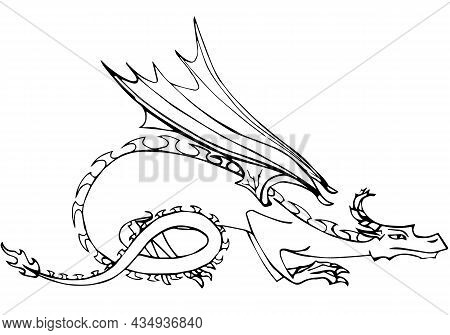 A Vector Colorless Line Silhouette Of Dragon