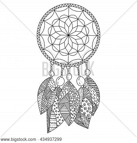Dreamcatcher Coloring Page, Amulet With Five Patterned Zen Feathers And Large Beads Vector Illustrat