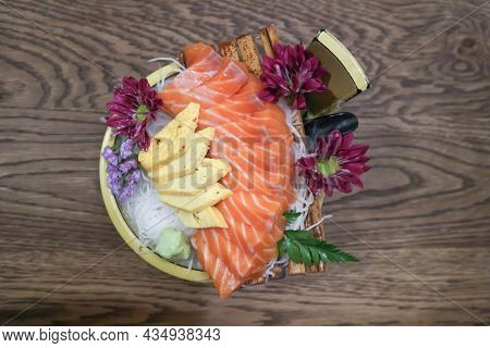Raw Salmon, Sashimi Or Sliced Salmon And Steamed Egg