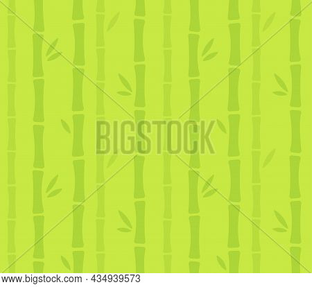 Seamless Bamboo Forest Pattern. Bamboo Stalks And Leaves Silhouette. Simple Cartoon Style Vector Bac