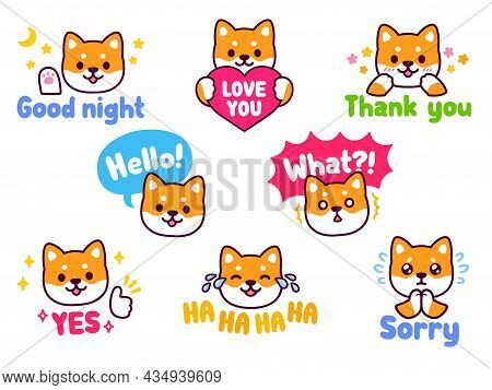 Cute Cartoon Shiba Inu Dog Sticker Set. Chat Emoji With Text Messages: Hello, Sorry, Thank You, Love