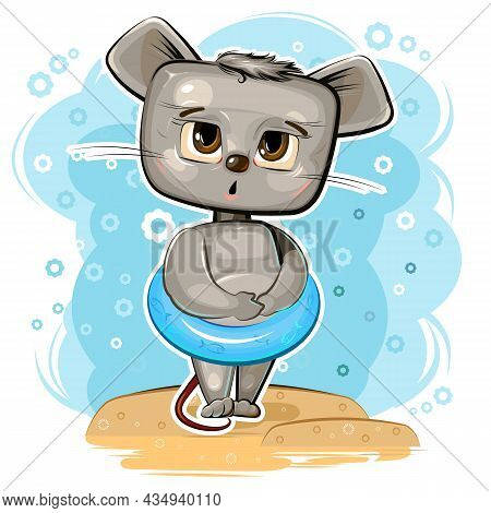 Cute Mouse Got Ready To Swim In An Inflatable Ring On Beach. Funny Comic Baby Animal. Young Cute Car