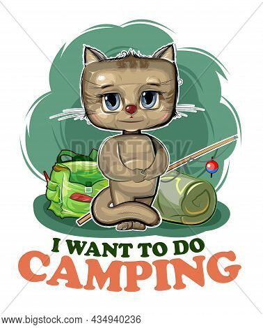 Funny Cute Baby Kitten. He Asks To Take Him Camping. Backpack M Fishing Rod. Naive Animal Child. Car