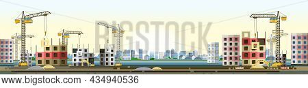 Construction Of New Microdistrict Of City. Modern Residential And Industrial Buildings. Horizontal.