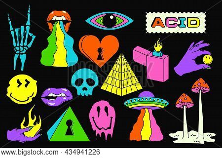 Acid Sticker Set. Acidic Abstract Smiles, Objects And Icons. Funny Color Pictures In Trendy Psychede