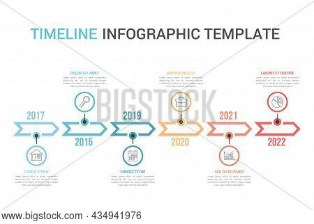 Horizontal Timeline Template With Six Arrows, Infographic Template For Web, Business, Presentations,
