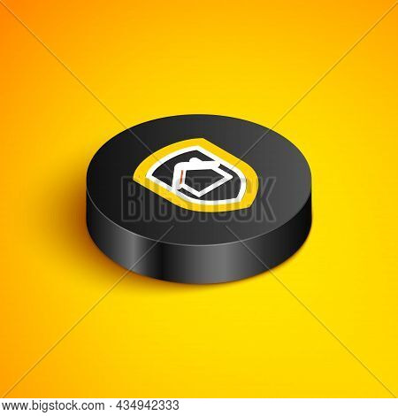 Isometric Line House Under Protection Icon Isolated On Yellow Background. Home And Shield. Protectio