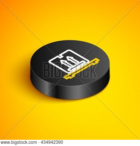 Isometric Line Cardboard Boxes On Pallet Icon Isolated On Yellow Background. Closed Carton Delivery