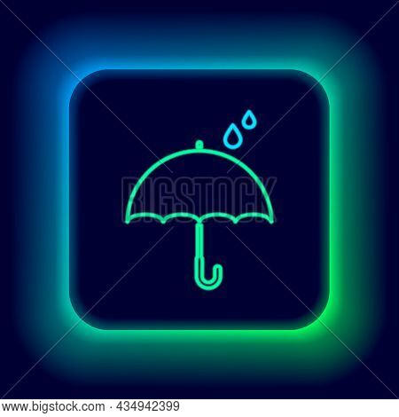 Glowing Neon Line Umbrella And Rain Drops Icon Isolated On Black Background. Waterproof Icon. Protec