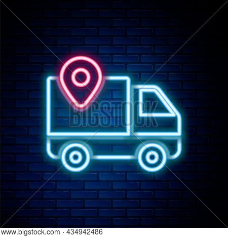 Glowing Neon Line Delivery Tracking Icon Isolated On Brick Wall Background. Parcel Tracking. Colorfu