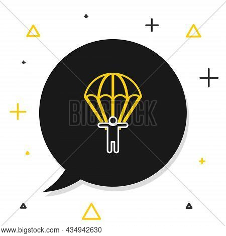 Line Parachute And Silhouette Person Icon Isolated On White Background. Colorful Outline Concept. Ve