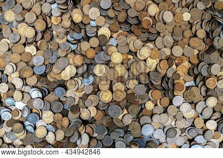 The Background Is A Lot Of Old Coins, Turkish Lira, Euro And Rubles. Treasure Or Treasure, Investing