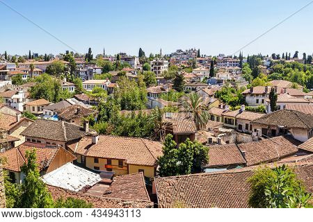 The Old Center Of Antalya, The Port Of Kaleici In Antalya. Roofs Of Houses, Old Tiles. Tourist Histo