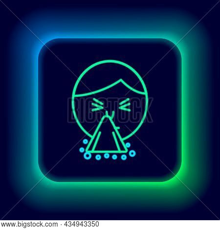 Glowing Neon Line Man Holding Handkerchief Or Napkin To His Runny Nose Icon Isolated On Black Backgr