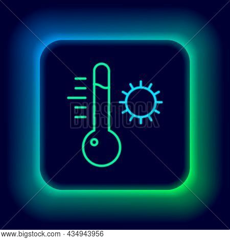 Glowing Neon Line Meteorology Thermometer Measuring Icon Isolated On Black Background. Thermometer E