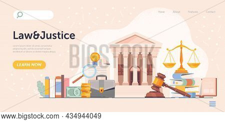 Law And Justice Concept. Landing Page, Guide. Graphic Elements For Legal Sites, Lawyer, Notary. Judg