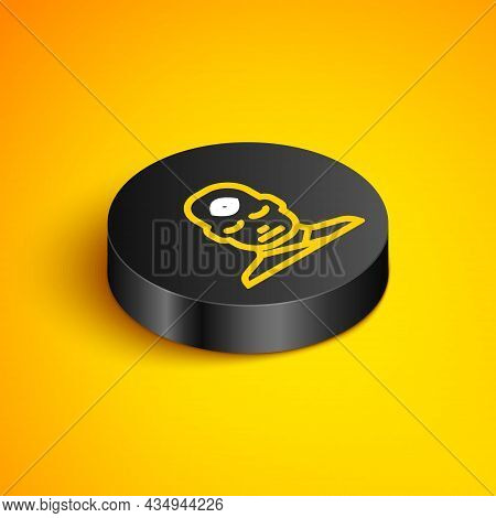 Isometric Line Man With Third Eye Icon Isolated On Yellow Background. The Concept Of Meditation, Vis