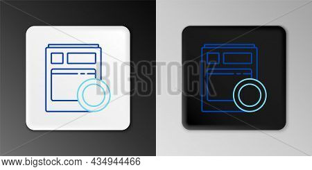Line Kitchen Dishwasher Machine Icon Isolated On Grey Background. Colorful Outline Concept. Vector