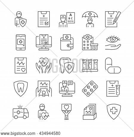 Health Insurance Coverage. Icons For Medical Websites, Graphic Elements For Pages. Private Clinic, M