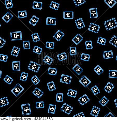 Line Shopping Basket On Screen Tablet Icon Isolated Seamless Pattern On Black Background. Concept E-