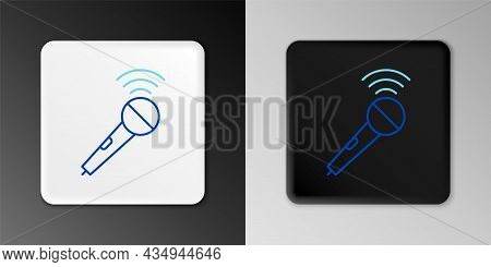 Line Wireless Microphone Icon Isolated On Grey Background. On Air Radio Mic Microphone. Speaker Sign