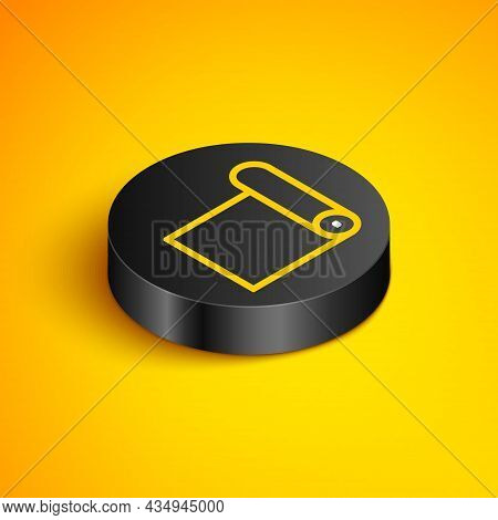 Isometric Line Fitness Mat Roll Icon Isolated On Yellow Background. Yoga Mat Rolled. Sport Equipment