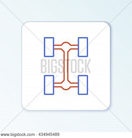 Line Chassis Car Icon Isolated On White Background. Colorful Outline Concept. Vector