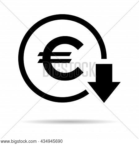 Euro Reduction Symbol, Cost Decrease Icon. Reduce Debt Bussiness Sign Vector Illustration .