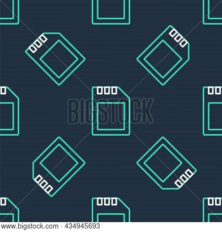 Line Sd Card Icon Isolated Seamless Pattern On Black Background. Memory Card. Adapter Icon. Vector