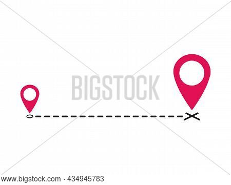 Vector Icon, Symbol Moved Announcement Design Image Isolated On White Background, Straight Dashed Li